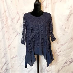 Monoreno Blue Knit Crochet Top
